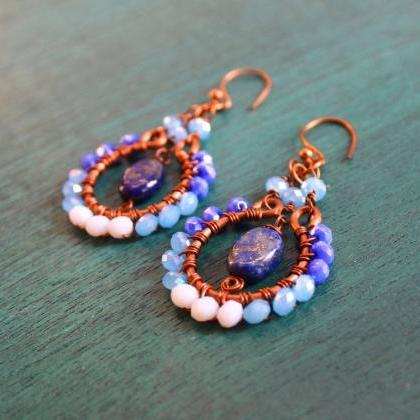 Copper earrings with Blue ,Light Bl..