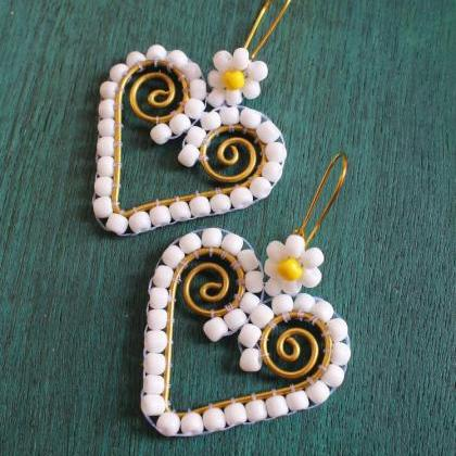 Brass Framed & White Seed Bead Hear..