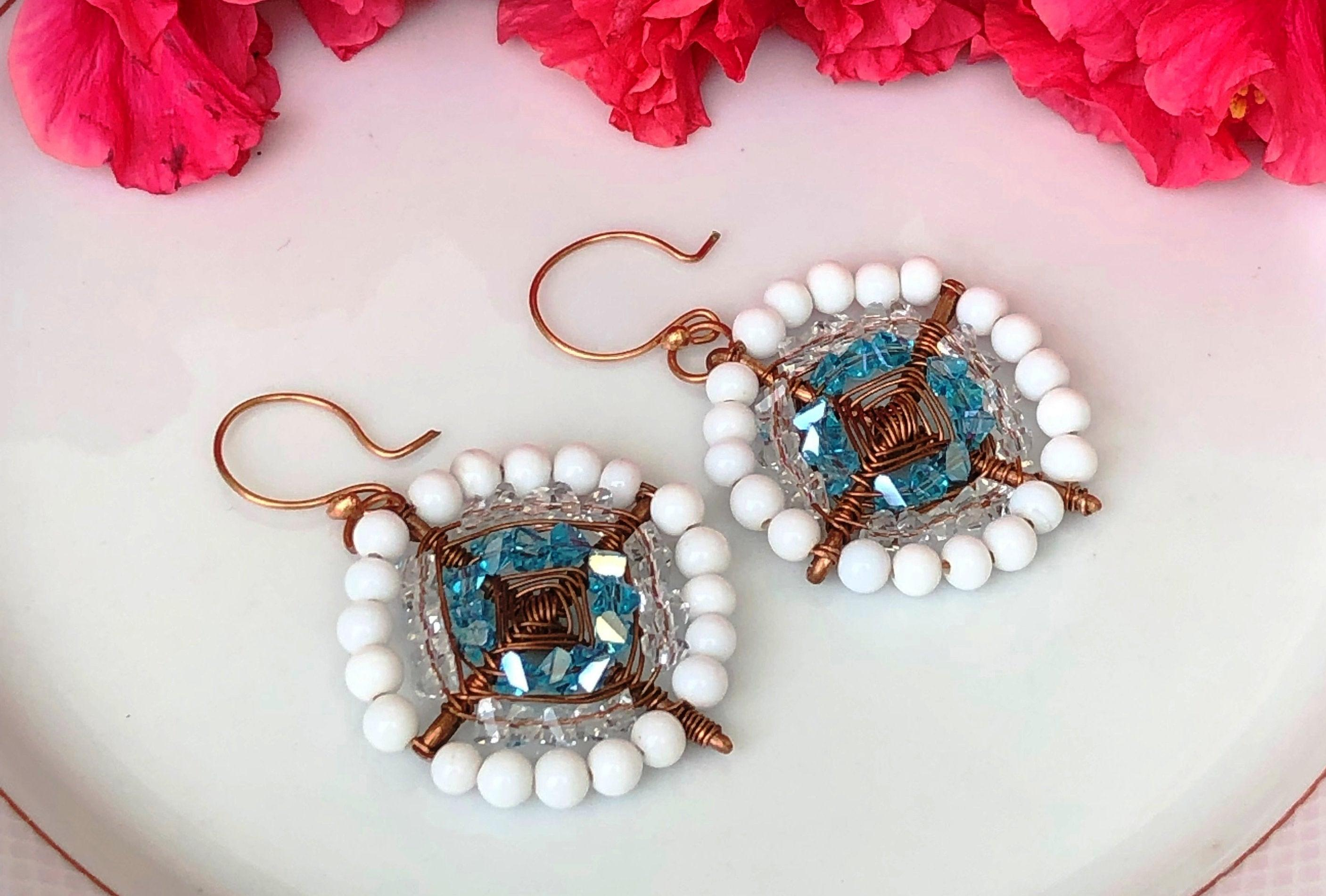 Copper earrings wrapped with white glass beads & blue crystal For Women