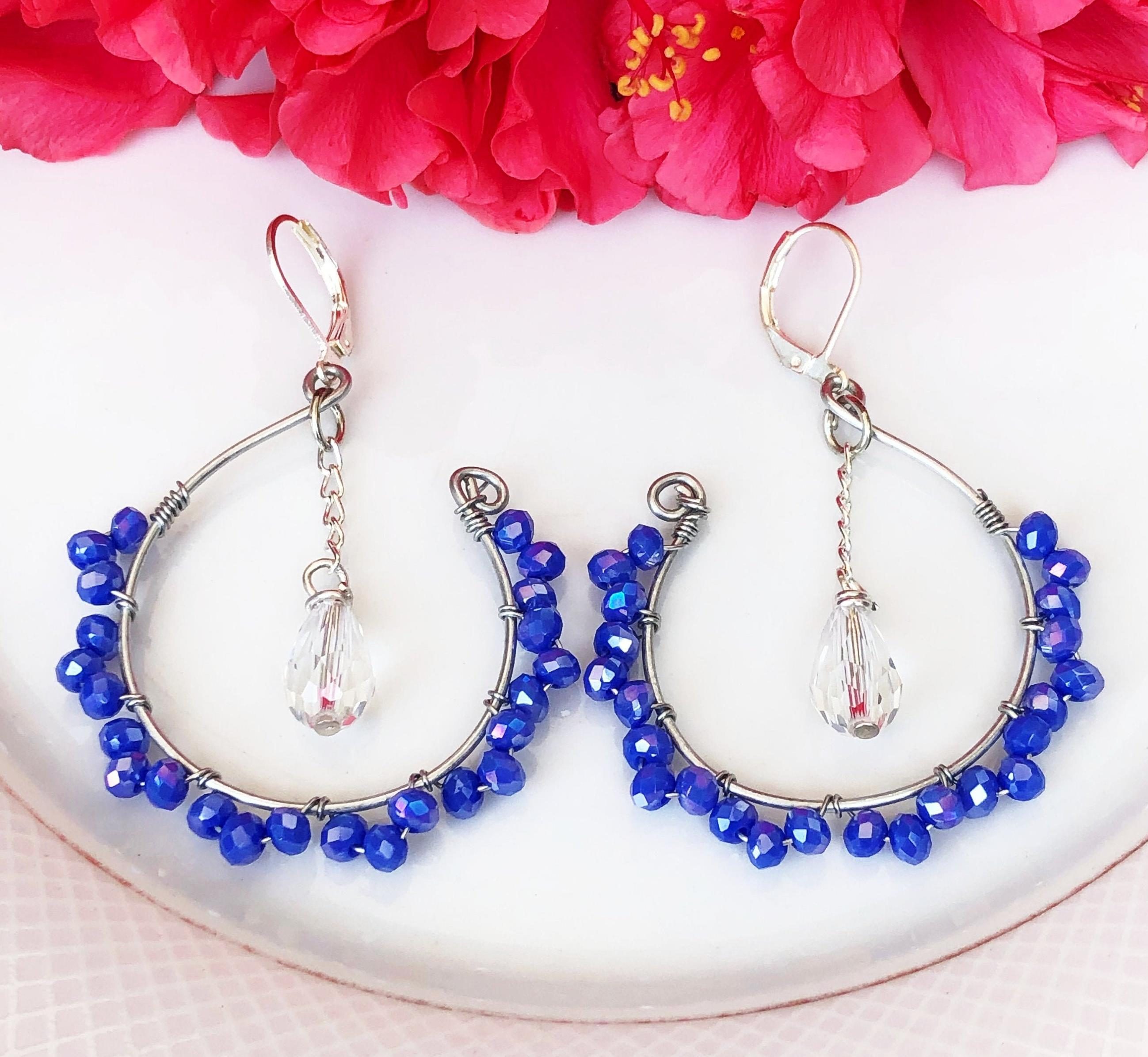 Blue Crystals Hoops With a White Drop For Women