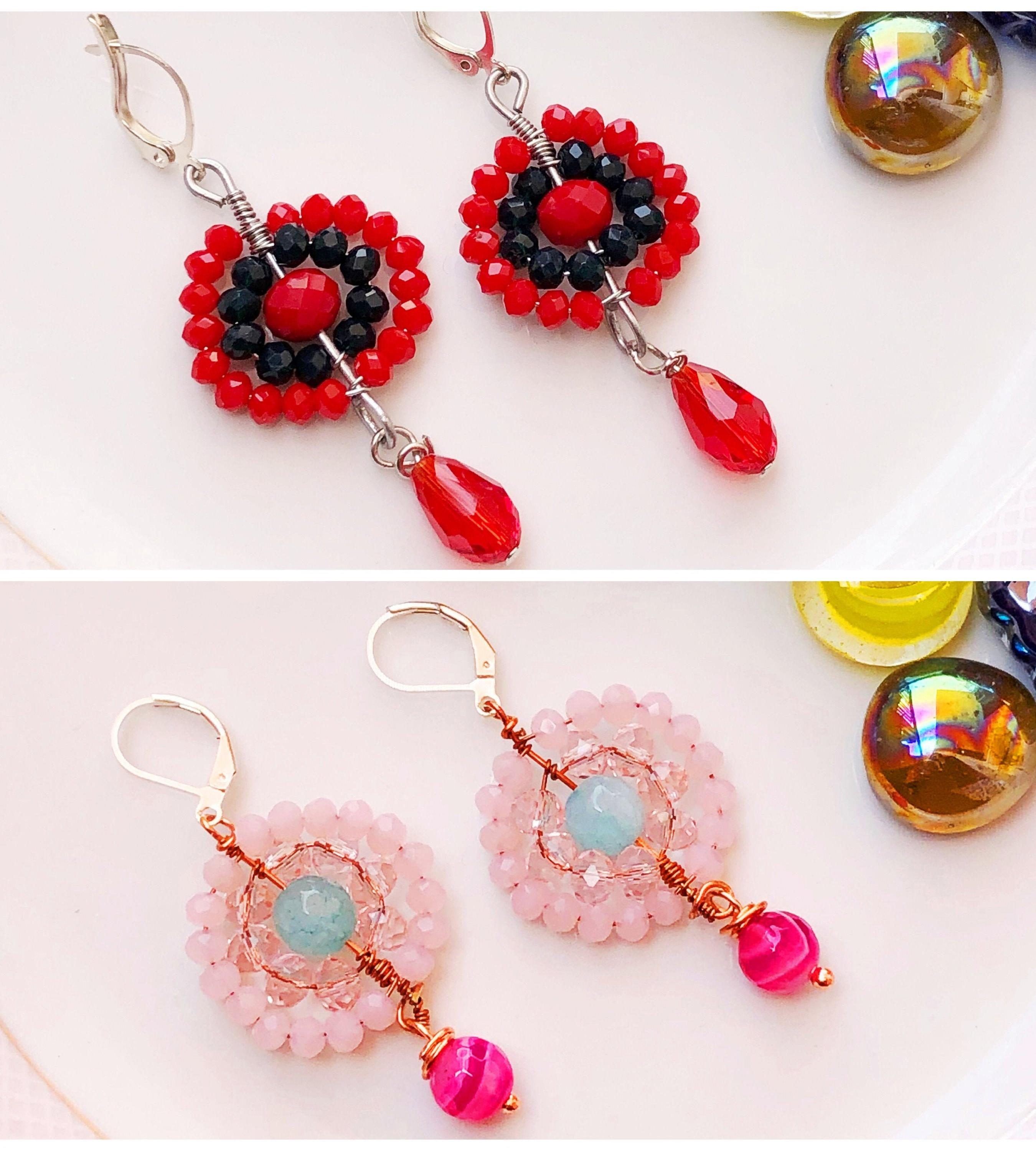 Red -Green Glass Bead Earrings/Blue &Pink Agate Stone Earrings