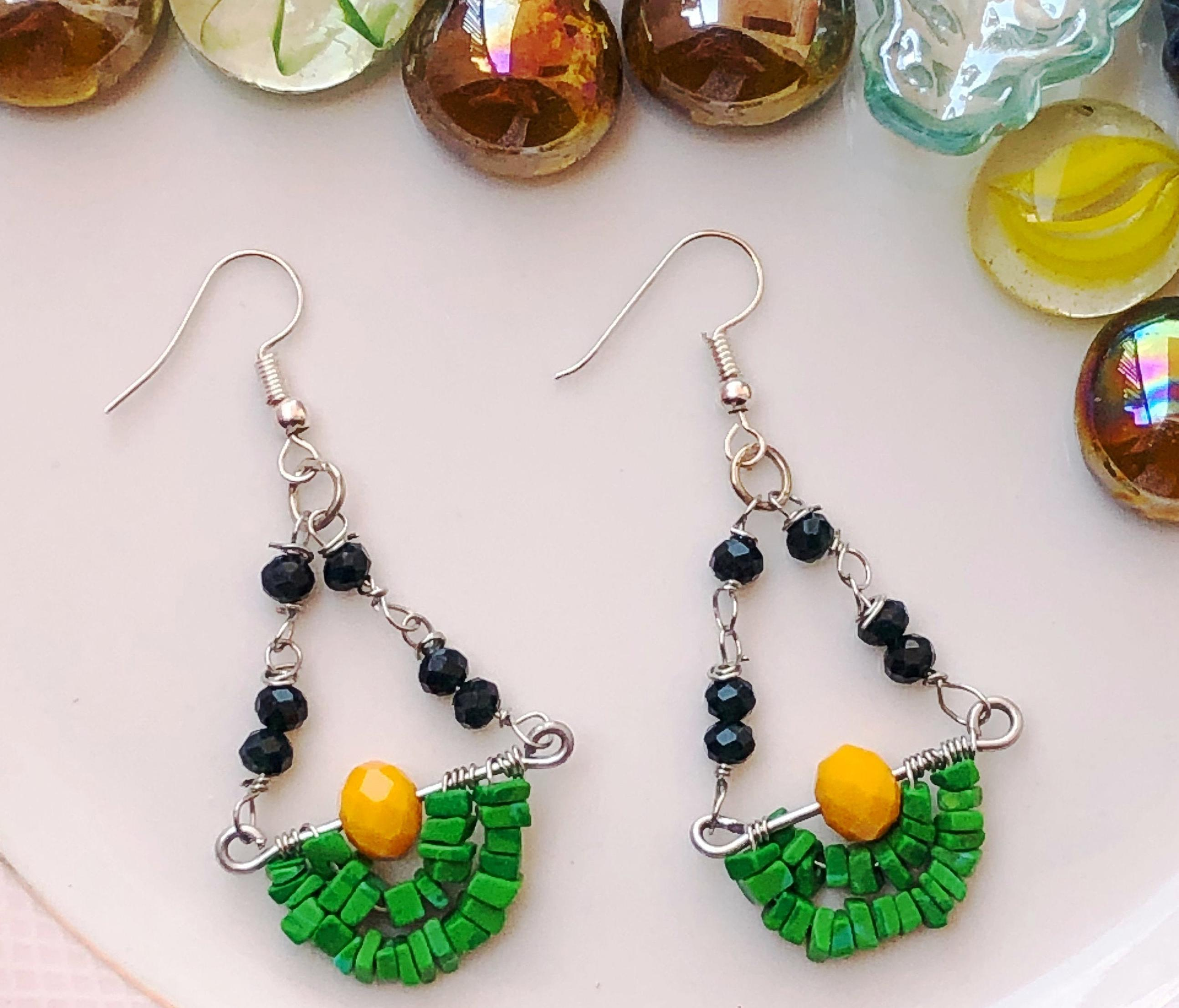 Green & Yellow/Maroon/Orange Glass Beaded Hoops For Women