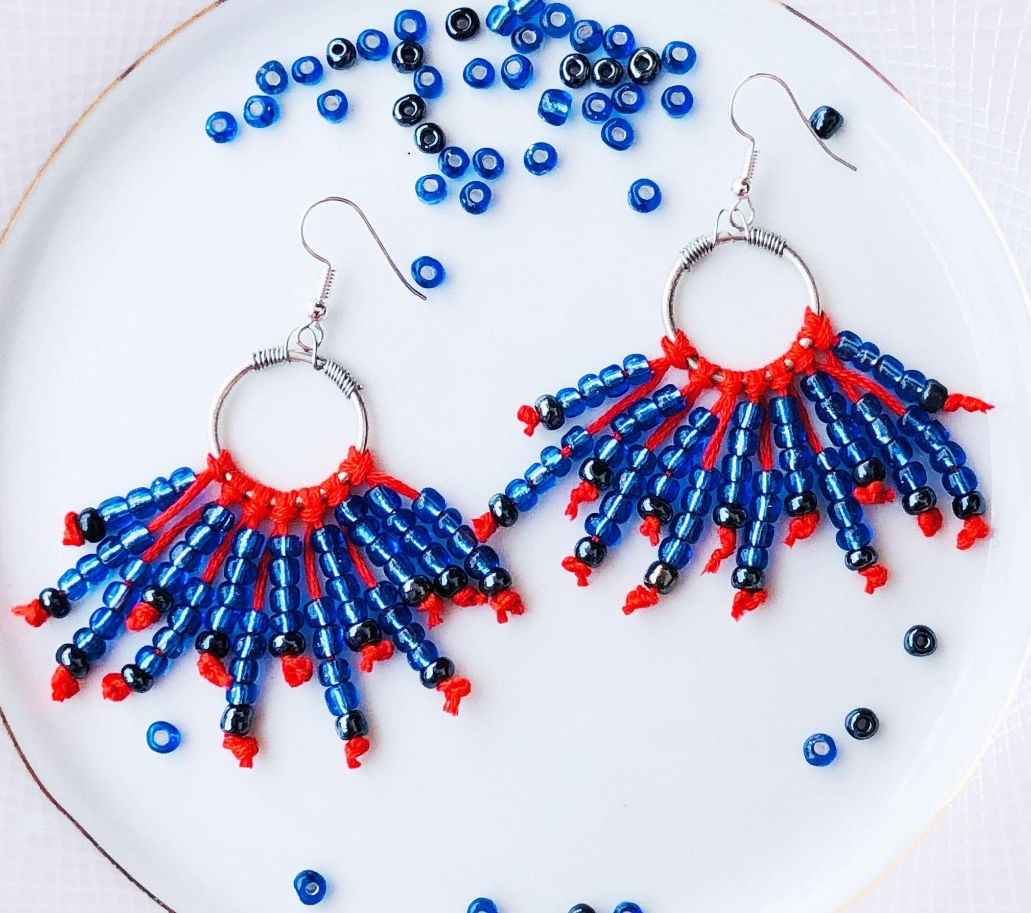 Blue Seed Beads & Orange Thread Fringe Earrings For Women