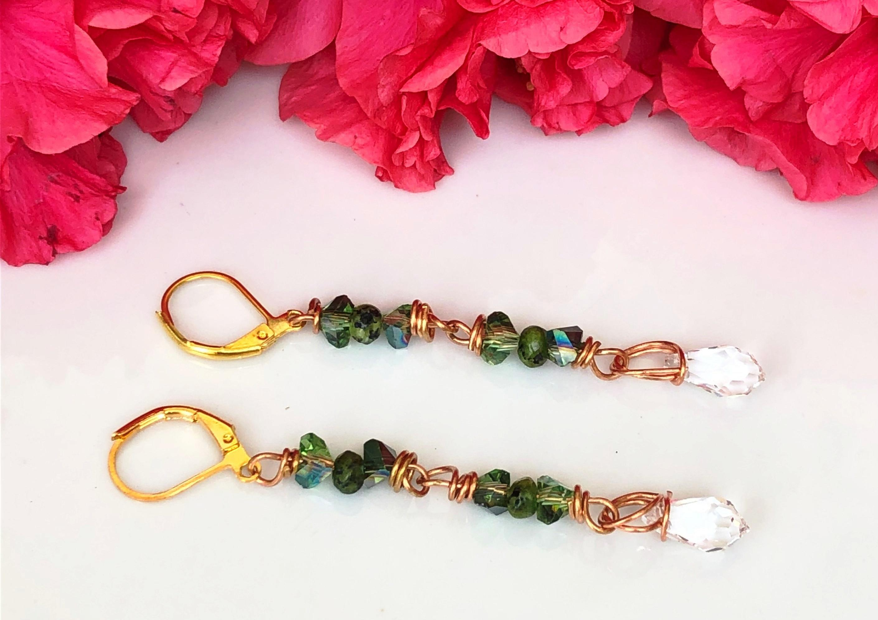 Copper Wire Drop Earrings with Green Jade ,Green & White Crystals