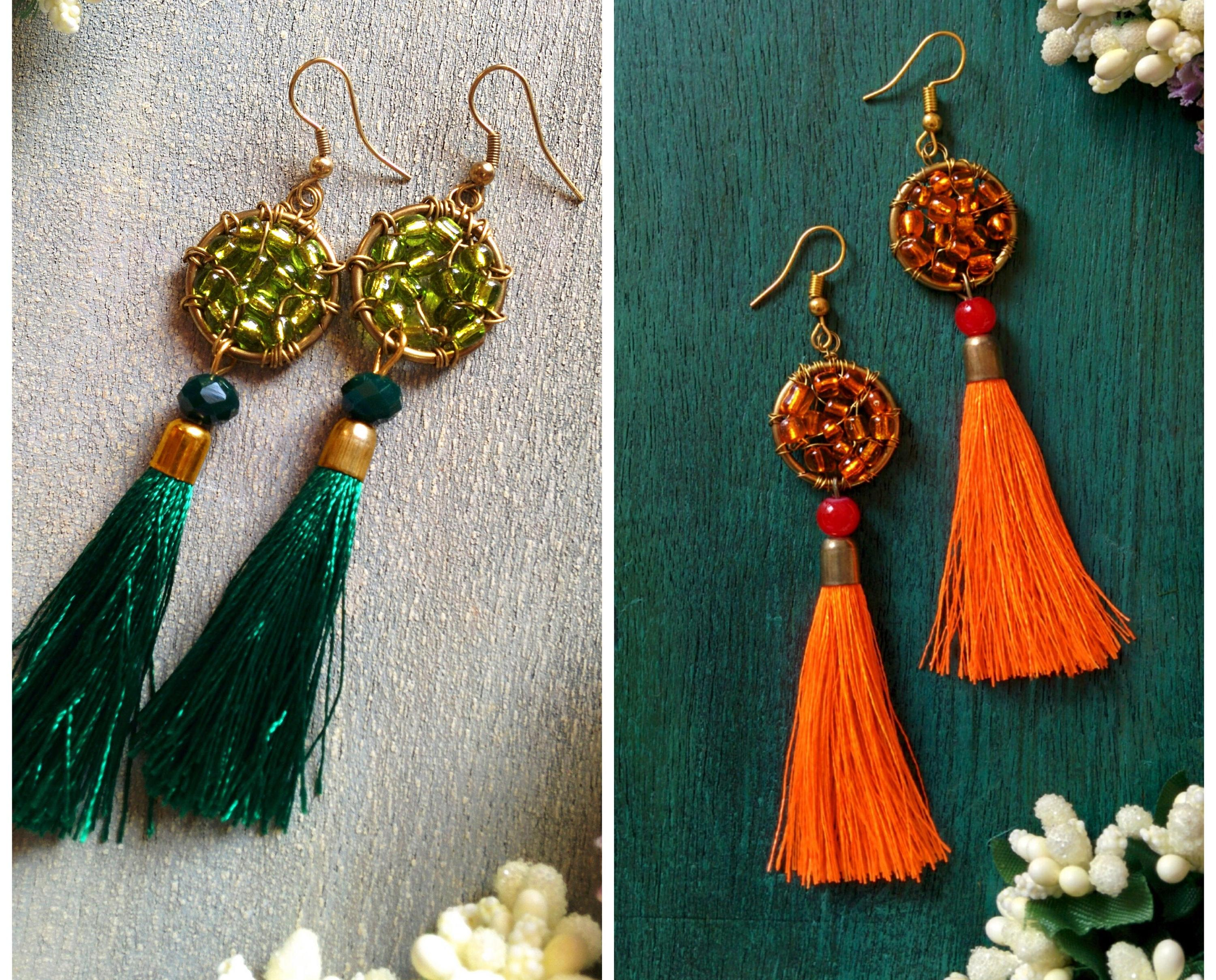 Green/Orange Tassels With Green/Orange Glass Seed Beads For Women
