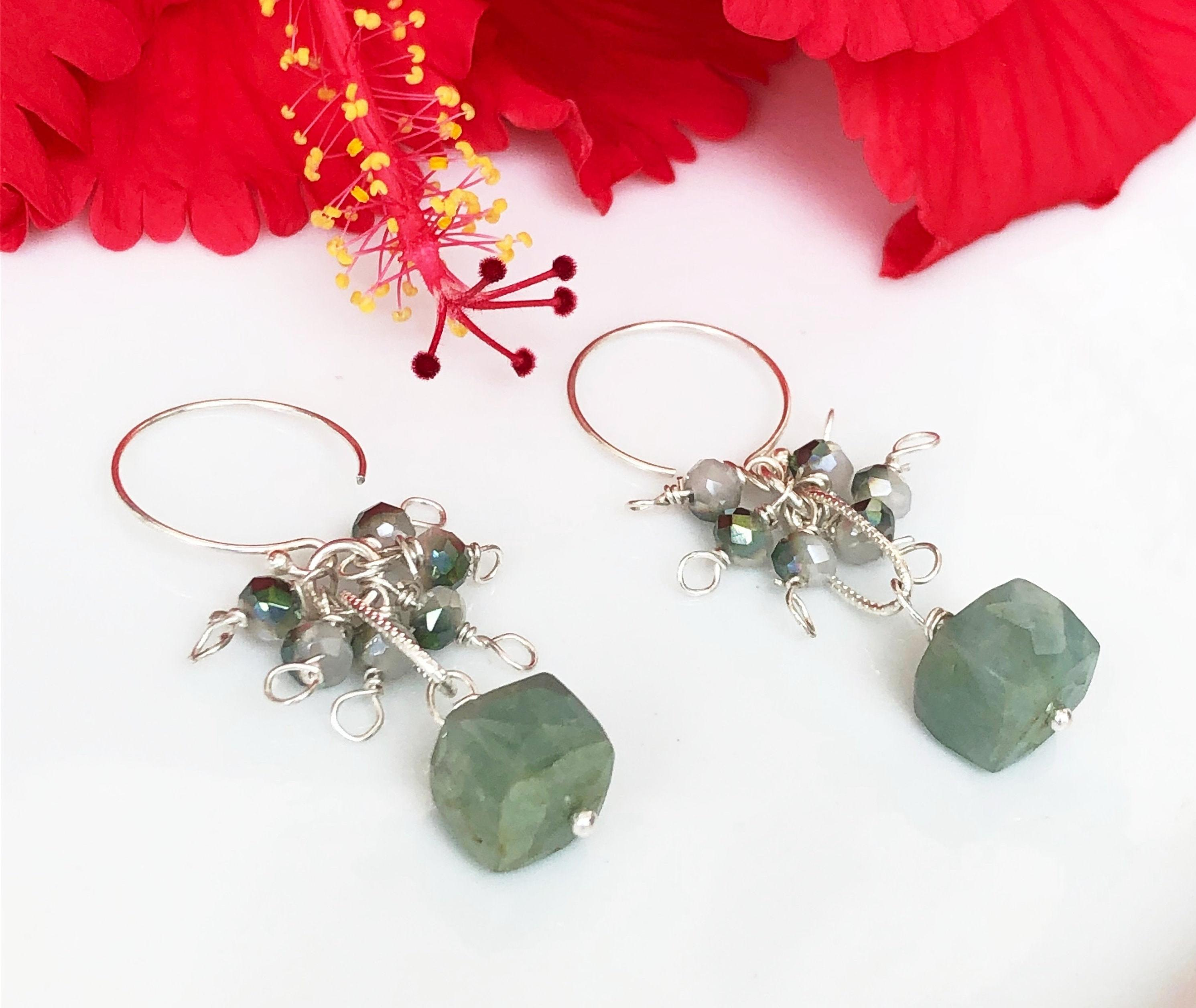 92.5 Sterling Silver Drop Earrings With Aquamarine Box Faceted Stone & Shaded Crystal Cluster.