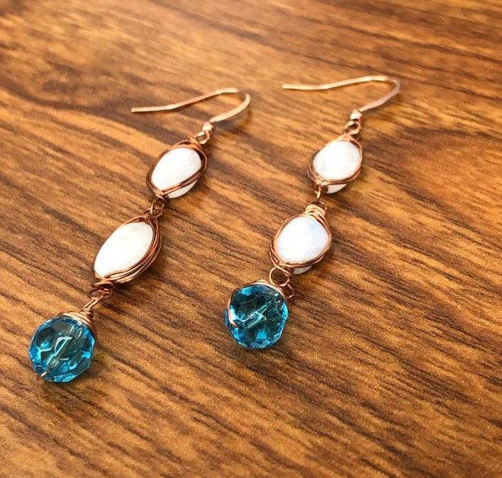 Moon stone and Blue Crystals Earrings For Women