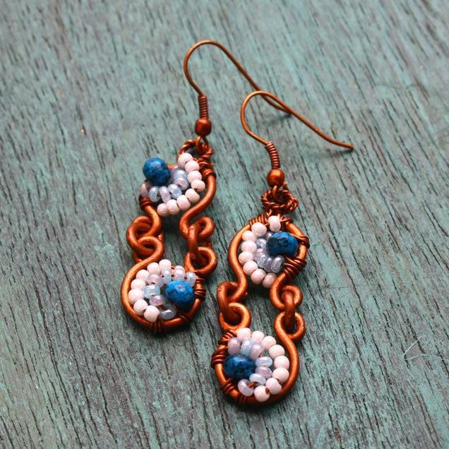 Copper Earrings embellished with Blue Jade & White Seed Beads