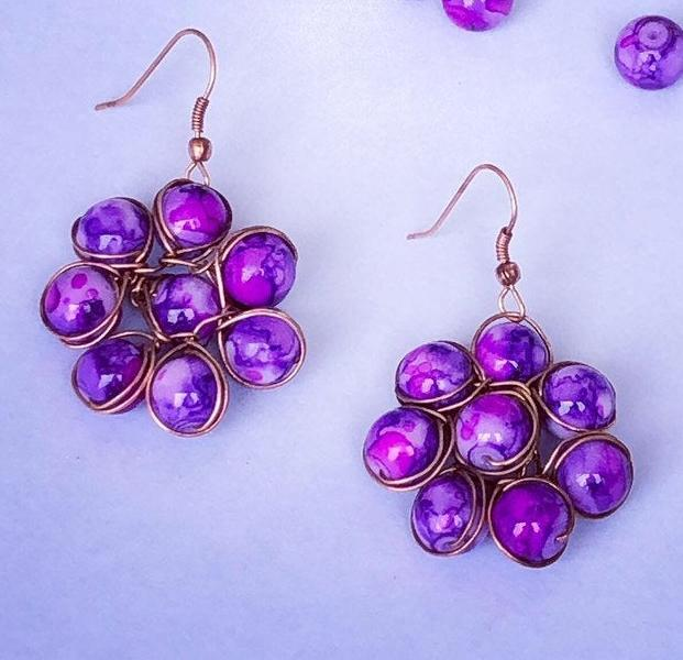 Purple Glass Bead Flower Small Earrings