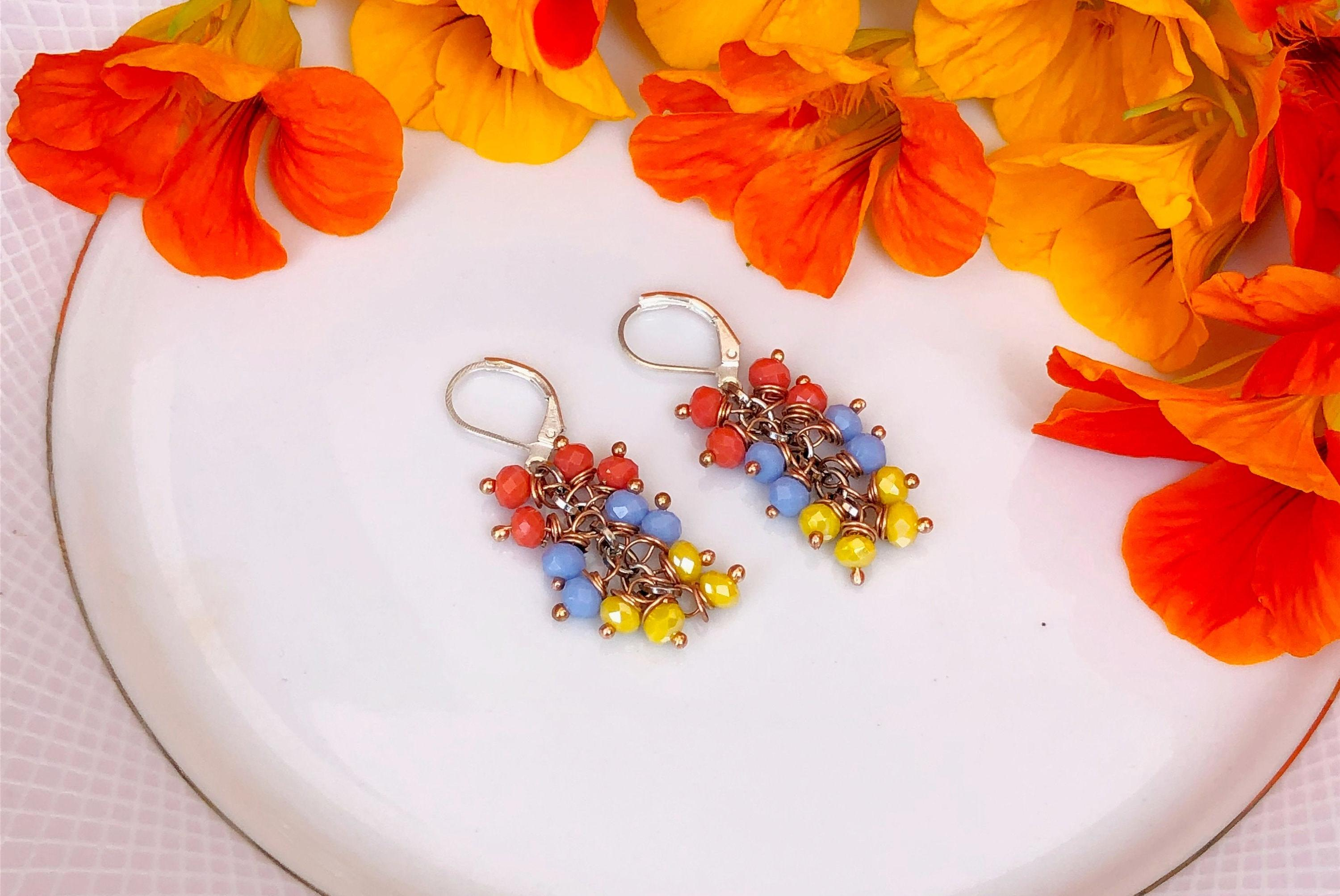 Orange, Blue & Yellow Crystal Clustered Earrings
