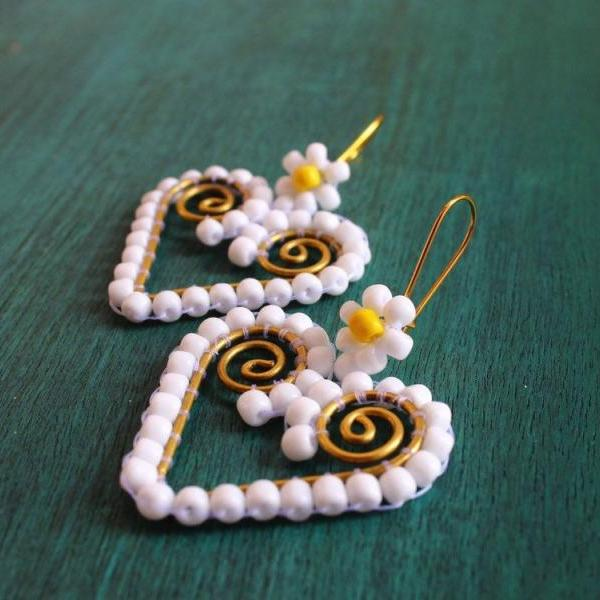 Brass Framed & White Seed Bead Heart Earrings for Women