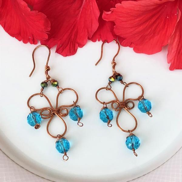 Copper earrings with Blue Crystal Drops